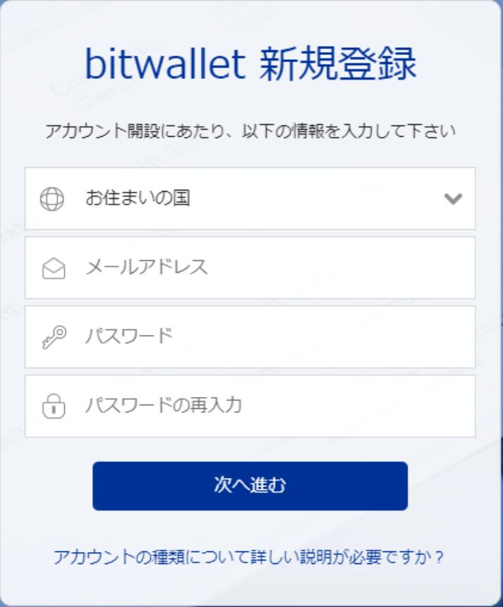 bitwallet アカウント作成